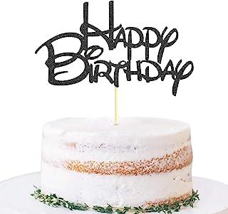 Black Happy Birthday Cake Topper - Golden Glitter Birthday Party Cake Decoration Supplies, Cake Smash Decoration Photo Boo...