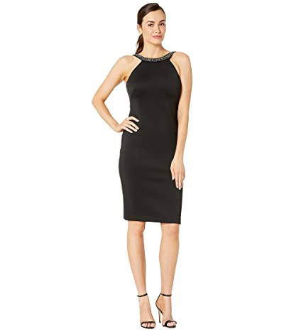 Calvin Klein Sheath Dress with Embellished Neck (Black) Women