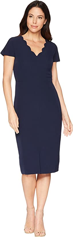 Dream Crepe Sheath Dress with Scallop Neck