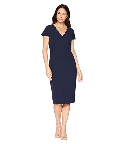 Maggy London Dream Crepe Sheath Dress with Scallop Neck (Navy) Women