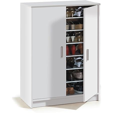 Meuble à chaussures à deux portes, meuble auxiliaire, modèle Basic Wide, fini en blanc, mesures : 75 cm (largeur) x 101 cm (hauteur) x 36 cm (profondeur)