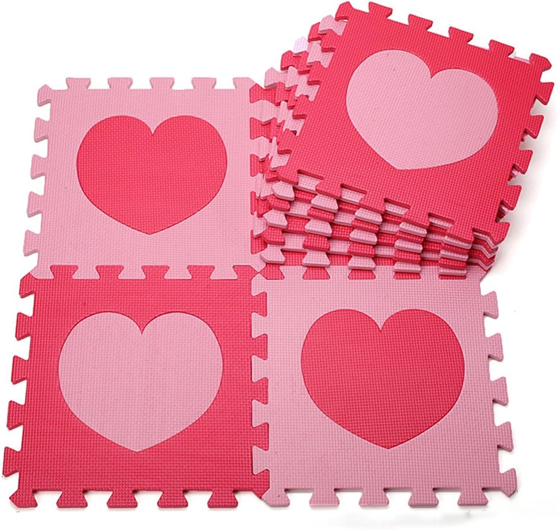 Menu Life Pink & Red Colour Soft Play Mats EVA Jigsaw Mats 30 x 30 x 1cm Foam Puzzle Mats Heart (40)