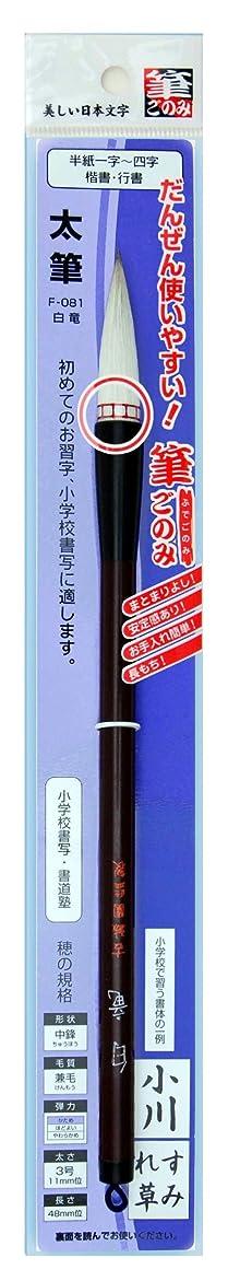 広島筆 書道 筆 白竜(筆ごのみ装着) F-081 3号