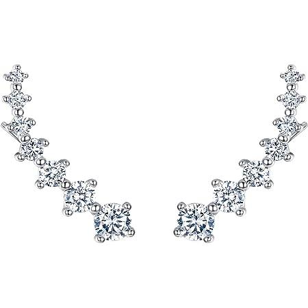 EVER FAITH® 925 argento sterling Cubico Zirconia rotonda orecchio lungo Sweep dell'involucro del polsino orecchini del gancio 1 coppia