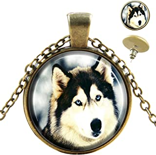 Sechao Siberian Husky مخصص الأزياء الأوروبية البرونزية قلادة أقراط مسمار مجوهرات