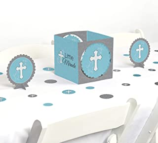 Big Dot of Happiness Little Miracle Boy Blue & Gray Cross - Baptism or Baby Shower Centerpiece and Table Decoration Kit