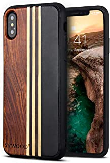 Compatible for iPhone Xs Wood Case, Wood Grain Cover Slim Textured Scratch Proof Drop Proof Durable Bumper Full Body Prote...