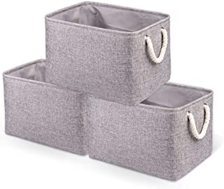 BAIST 3-Pack Large Decorative Fabric Storage Bins Collapsible Organizer Basket with Cotton Rope Handle for Shelves, Close...