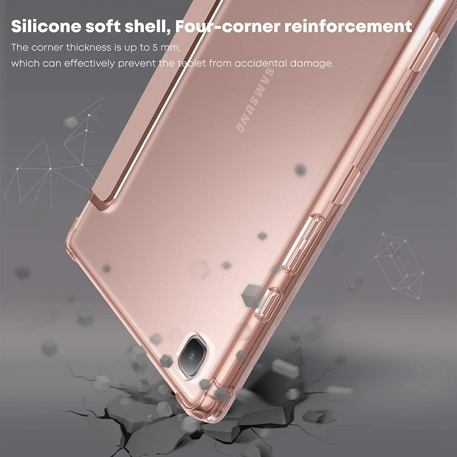 Smart Stand Case Cover with Frosted Translucent Back Fit Samsung Galaxy Tab A7 10.4-inch Model SM-T500//T505//T507 2020 Tablet Auto Wake//Sleep Rose-Gold INFILAND Galaxy Tab A7 10.4 2020 Case