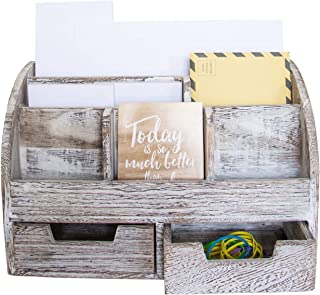 Rustic Wooden Desk Organizer for Home or Office - Mail Rack for Desktop, Tabletop, or Counter – Desk Supplies Organizer with 2 Drawers and 6 Compartments – Rustic White Workspace Organizer