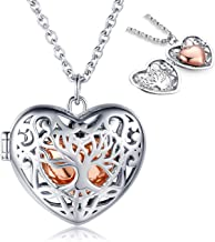 925 Sterling Silver Tree of Life Urn Necklace for Ashes - Rose Gold Heart Shaped Cremation Locket Pendant, Women Keepsake Jewelry Memorial Bereavement Gift for Loss of a Loved One