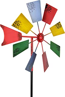 Exhart Vintage Windmill Spinner Garden Stake - Pinwheel Outdoor Decor w/Multicolor Metal Spinners - Garden Windmill with Metal Blades in Red, Light Blue, Yellow and Green Color, 12