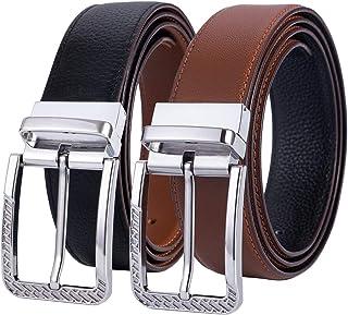 """Dubulle Genuine Leather Reversible Belt Designer Bule Brown Belt Strap Removable Buckle Belt for Men width 1.38"""" Fashion T..."""