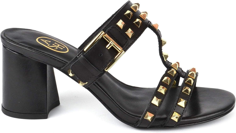 ASH Footwear June Sandalen mit Absatz, Schwarze Ledersandalen, Damensandalen Damensandalen 40 Schwarz  gemütlich