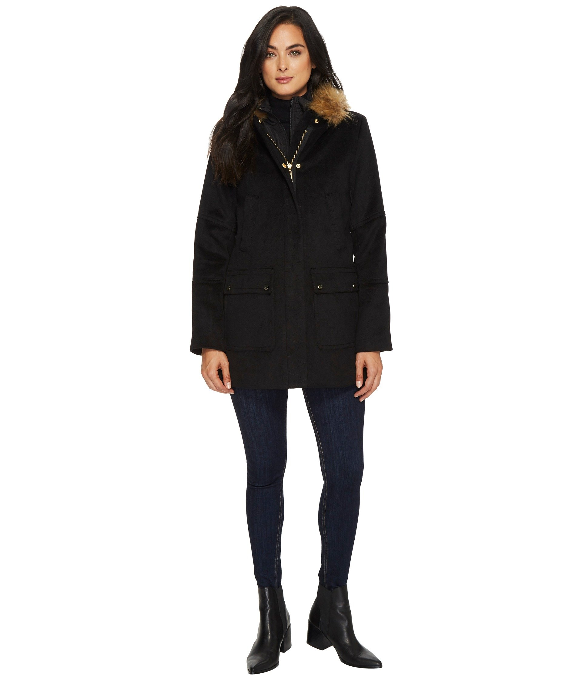 ELLEN TRACY Belted Down With Faux Fur Collar, Black