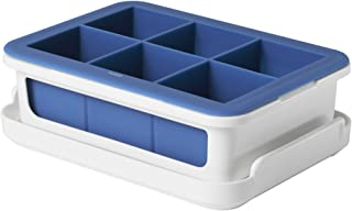 OXO Good Grips Silicone Stackable Ice Cube Tray with Lid - Large Cube,Dark Blue