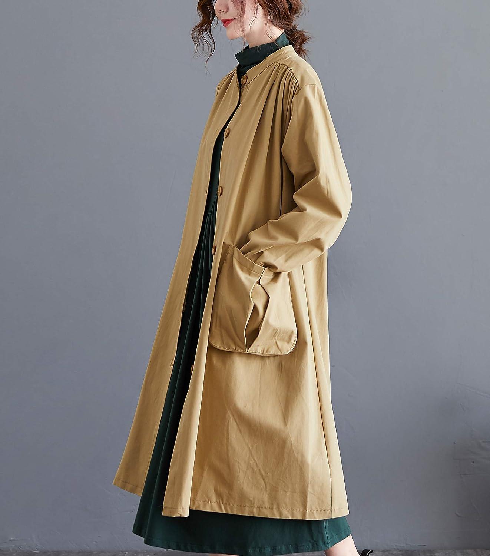 ellazhu Women Button Down Casual Mid-Long Fall Jacket Coat Outwear Pocket GA2108