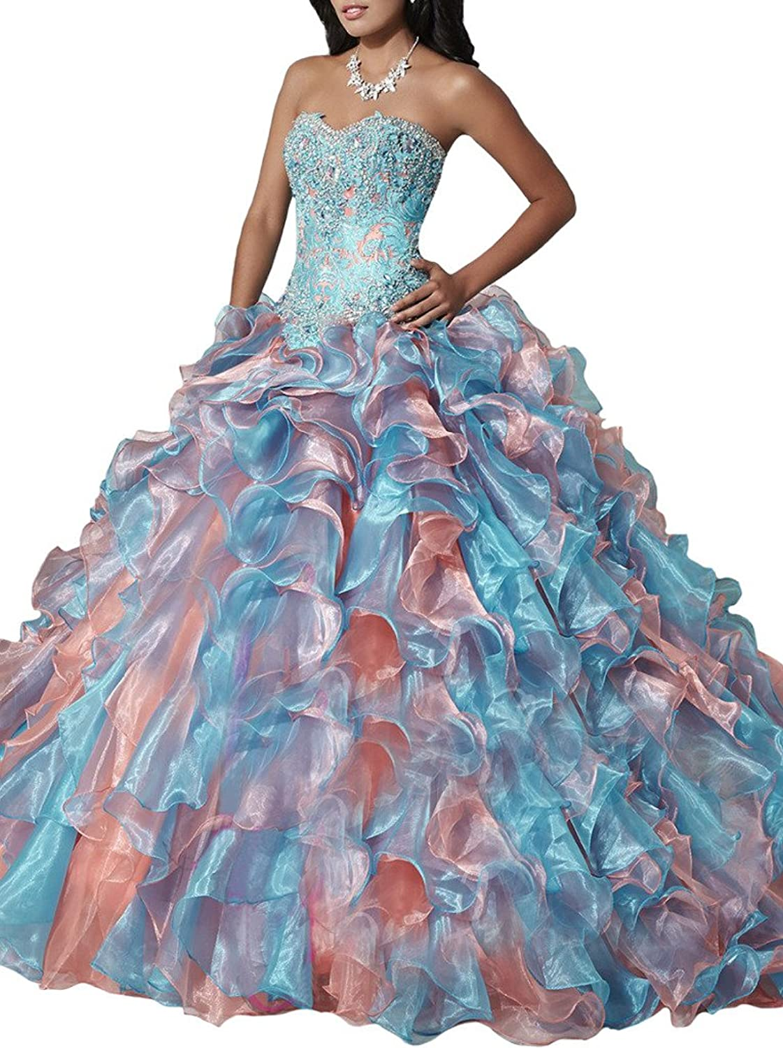 HSDJ Women's Sweetheart Beaded Ball Gown Layed Sweep Train Quinceanera Dresses