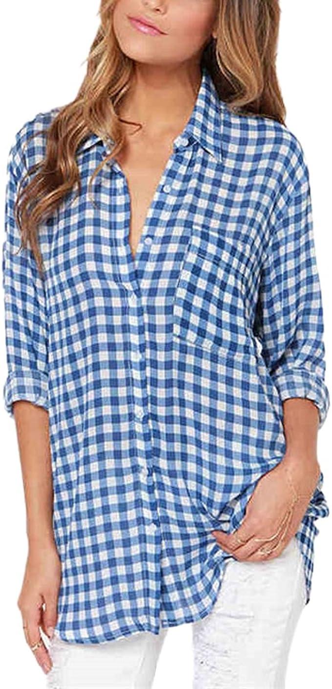Camisa con Botones de Mujer de Cuadros Azul Blanco Blusa con ...