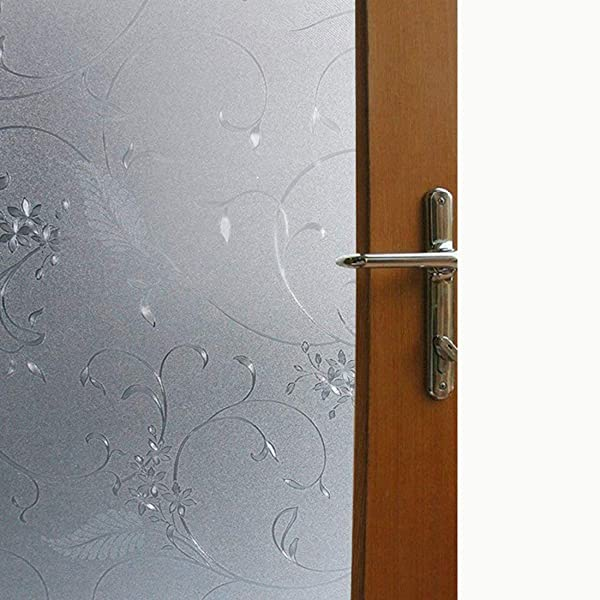Vakker Bahay Non Adhesive Glass Film Heat Control UV Blocking Window Film Static Cling 3D Flower Decorative Frosted Privacy Window Glass Film 17 7 X 78 7 Inches