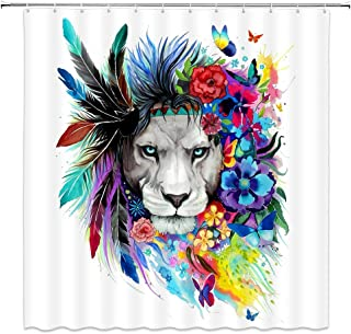 jingjiji Colorful Lion Shower Curtain Wild Animal Peacock Feather Flower Watercolor Painting Abstract Bathroom Decor Curtains Polyester Fabric Waterproof with Hook 70 X 70 Inch White