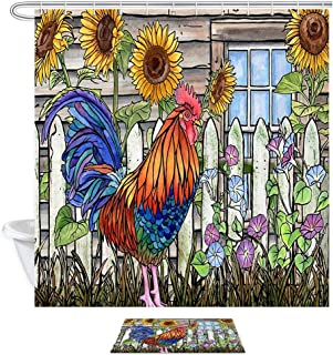 Inbetweening Rooster Shower Curtain Bath Sets with Rugs, American Western Farm Animals Village Chicken and Sunflowers Fabric Bathroom Shower Curtain Set 15.7x23.6in Flannel Doormat Bath Rugs,69X70in
