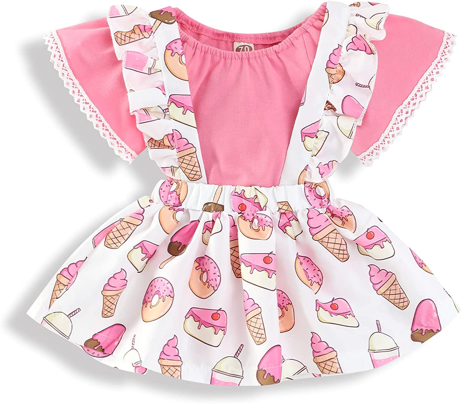 Recabee Baby Girl Clothes Solid Color Off-Shoulder Romper+Fruit Suspender Skirt Baby Girl Summer Outfits