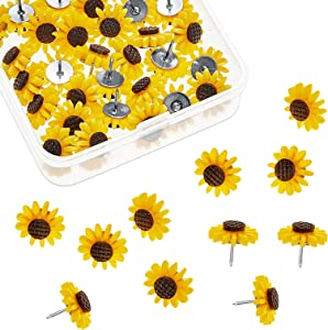 Sunflower Push Pins Sunflower Tacks Flower Cork Board Tacks Decorative Sunflower Thumb Tacks for Photos Wall Maps Bulletin Boards Cork Boards Offices Schools Supplies (40 Pieces)