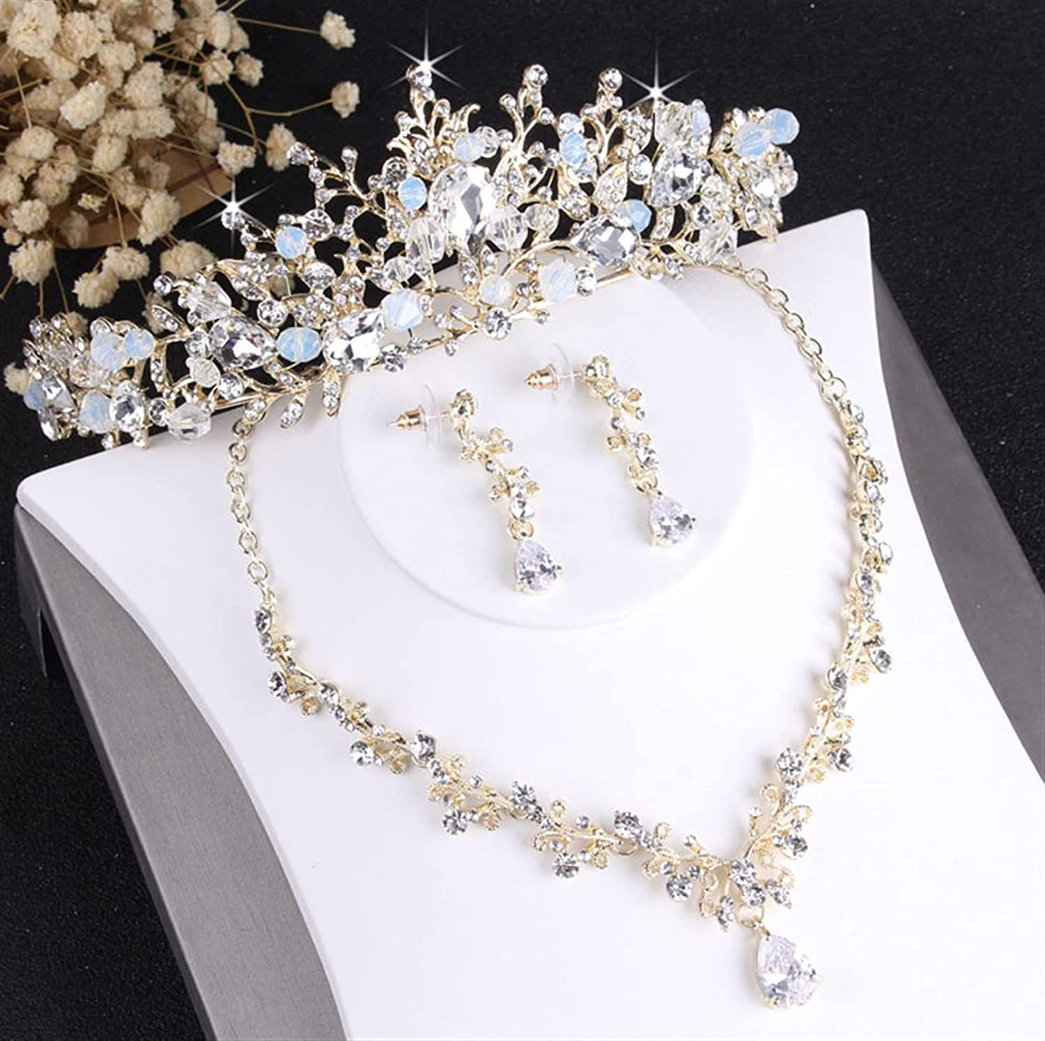 yqs Jewelry Set Crystal Bridal Jewelry Sets Vintage Gold Fashion Wedding Jewelry Tiara Necklace Earrings for Bride Hair Ornaments (Metal Color : 3Pcs Jewelry Set)