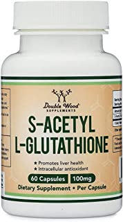 S-Acetyl L-Glutathione Capsules - 100mg, Made and Tested in The USA, 60 Count (Acetylated Glutathione) by Double Wood Supplements