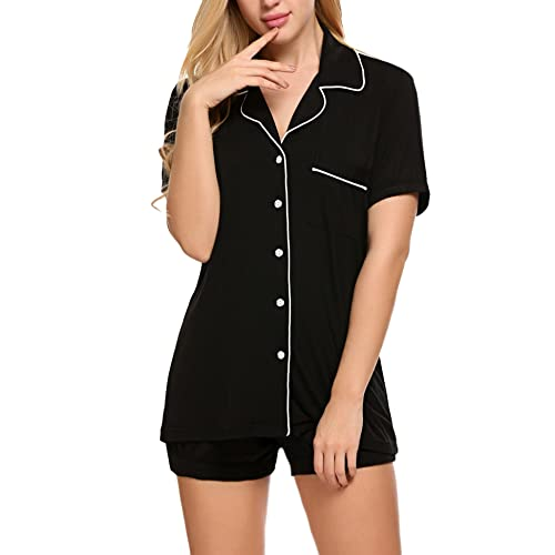 365f55479d Skylin Women Elegant Short (Full Length) Sleepwear 2 Piece Shirt  Button-Down Pajama