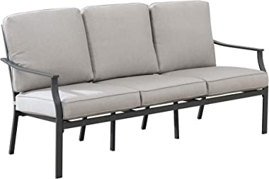 """Amazon Brand - Ravenna Home Archer Steel-Framed Outdoor Patio Plush 3-Seater Sofa with Removable, Water-Resistant Cushions, 68.5""""W, Gray"""