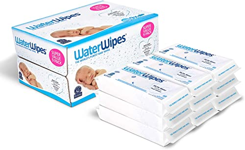 Baby Wipes, WaterWipes Sensitive Baby Diaper Wipes, 99.9% Water, Unscented & Hypoallergenic, for Newborn Skin, 9 Pack...