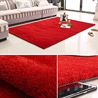 TriGold Soft Smooth Carpet, Fluffy Not-Slip Area Rugs Full of Korean Silk Fashion Simple Modern Bedside Mats for Living Room Bedroom -red 137x70cm(54x28inch)