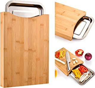 Cutting Board with Containers Sliding Stainless Steel Tray Drawer Bamboo for Kitchen Easy Waste Removal & Food Prep, Bambo...