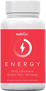 Nutriair Natural Energy Supplement - No Added Caffeine Guarana Pills, Ashwagandha, Panax Ginseng and L-Theanine - Support ...