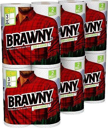 Brawny Tear-A-Square Paper Towels, 12 Rolls, 12 = 24 Regular Rolls, 3 Sheet Size Options, Quarter Size Sheets