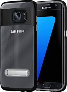 Samsung galaxy s7 edge cover/case, ultra hybrid, semi automatic magnetic kick stand back cover, clear with black
