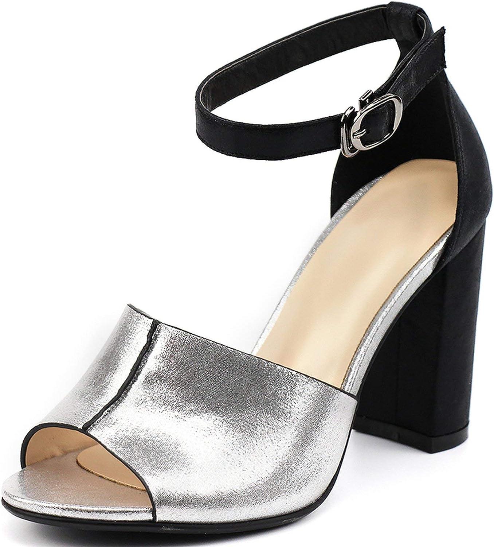 Jifnhtrs Large Size 35-42 Peep Toe Summer Sandals Chunky Heels Buckle Strap Basic Sandals Woman