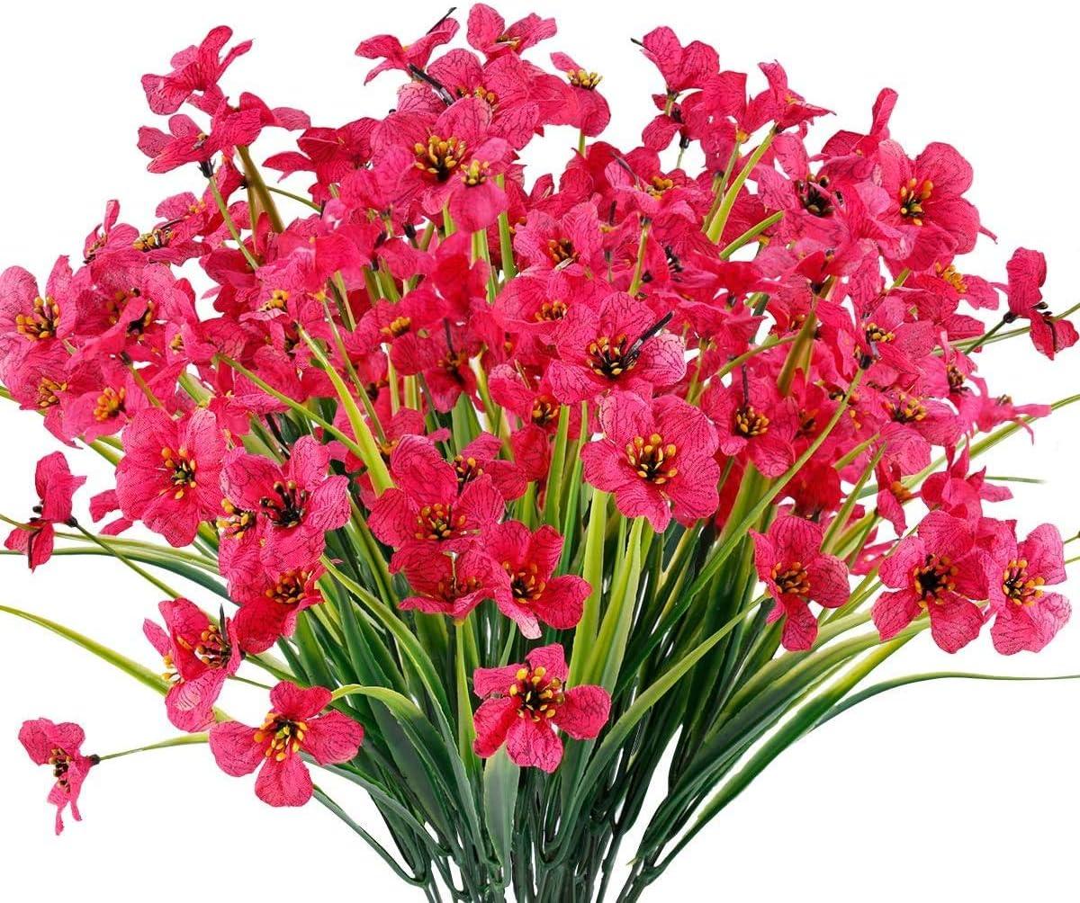 6 Piezas Flores Violeta Artificiales,Plantas Resistentes UV,para Interior Exterior Decoración hogar Ventana Porche Cocina jardín arbustos Colgantes Plantas Decoración (Rosa roja)