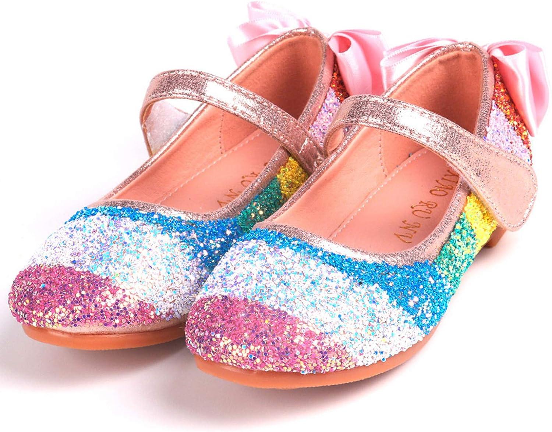 JACKSHIBO Girls Glitter Dress Shoes Toddler Party Princess Shoes Mary Jane Shoes Sparkling Ballerina Flats Pink Wedding Shoes