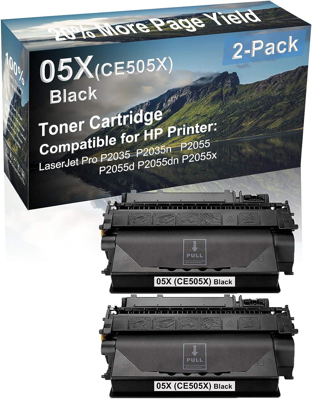 2-Pack Compatible High Capacity P2055dn P2055x Printer Toner Cartridge Replacement for HP (CE505X) 05X Printer Cartridge (Black)