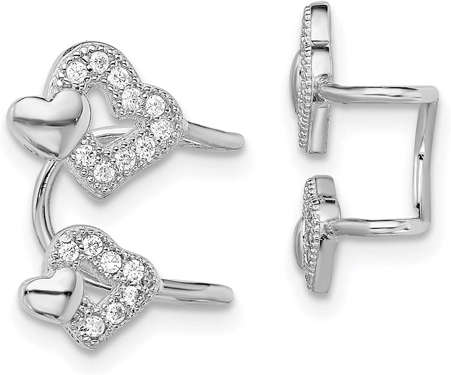 Sterling Silver CZ Double Max 53% OFF Heart mm New Shipping Free Earrings 15x10 Left Cuff