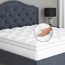 Sleep Mantra Mattress-Topper Queen Pure Cotton Top - Plush Quilted Pillow Top with Down Alternative Fill, Water Resistant ...