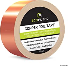 Eco-Fused Adhesive Copper Foil Tape - Double-Sided Conductive - EMI, Rf Shielding, Paper Circuits, Electrical Repairs, Grounding, 1 Roll - Copper Adhesive 2 inch / 50mm