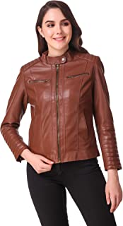 Leather Retail® Black colour Full Sleeve Solid Jacket for Woman