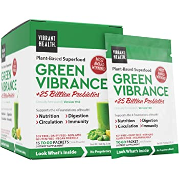 Vibrant Health, Green Vibrance, Plant-Based Superfood to Support Immunity, Digestion, and Energy with Over 70 Ingredients, Vegan Friendly (15 Servings)