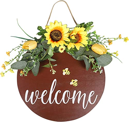 """popular Sunflower Welcome Sign Wreath Spring Sunflower Hanging lowest Decor for Front Door Coffee Shop Welcome Decoration Artificial online Flower Swag, 12"""" (Gray) sale"""