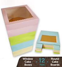 CooKeezz Couture - Colored Window Cake Box 10x10x5 Decorated Boxes Auto Popup Great for Bakery, Cakes - Assorted 12 Pack Boxes in 4 Pastel Colors Also Included with 12 Round Cake Boards