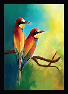 BIRD'S MIND Synthetic Wood Wall Hanging Love Couples Birds Photo Frame Poster for Living Room Home Decorative Bedroom Gift...